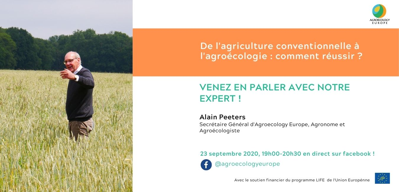 """First AEEU Webinar """"From Conventional Agriculture to Agroecological Practices"""" held on 23rd of September on our Facebook page!"""