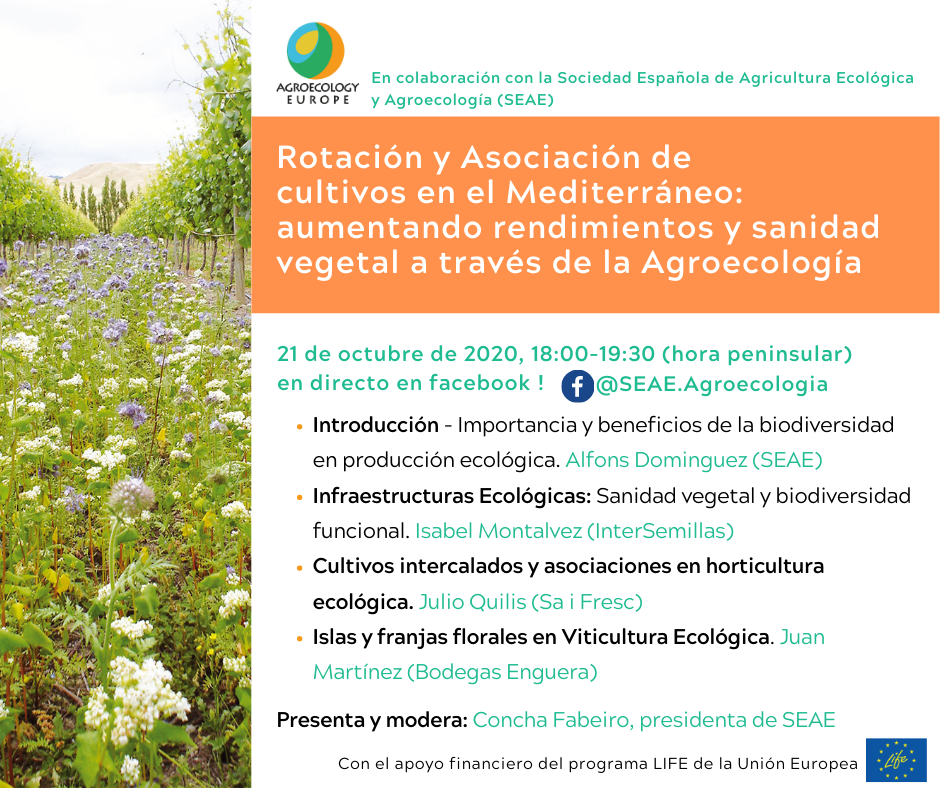 """AEEU Webinar on """"Intercropping and best plants associations in Mediterranean crops: increasing yields and preventing pests and diseases through Agroecology """" in Spanish held on Wednesday 21st of October on SEAE Facebook page!"""