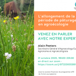 "AEEU Webinar about ""The extension of the grazing period in Agroecology"" in French – Wednesday 21st of October"