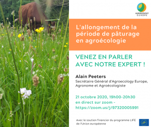 """AEEU Webinar about """"The extension of the grazing period in Agroecology"""" in French – Wednesday 21st of October"""