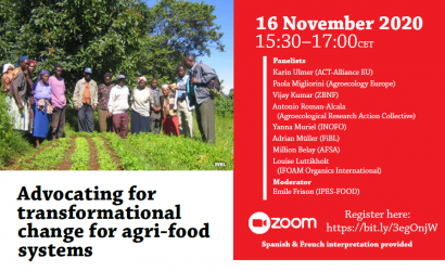 "New Webinar ""Advocating for transformational change for agri-food systems"" on Monday 16th of November 2020, 15:30-17:00 (CET), Register via the zoom link!"