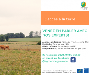 """AEEU Webinar """"Access to Land"""" held on Wednesday 25th of November 2020 in French on our Facebook page!"""