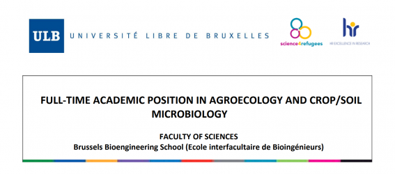 Job offer – Full-time academic position in Agroecology and Crop/Soil Microbiology at ULB – Faculty of Sciences Bioengineering School in Brussels