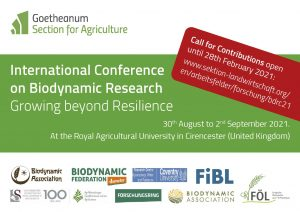 Call for Contributions – International Conference on Biodynamic Research: Growing beyond Resilience (Deadline: 28th February 2021)