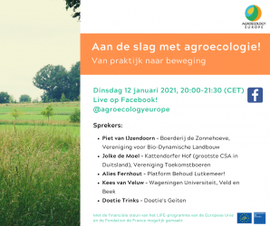 AEEU introductory webinar on Agroecology held on Tuesday 12th of January 2021 in Dutch on our Facebook page!