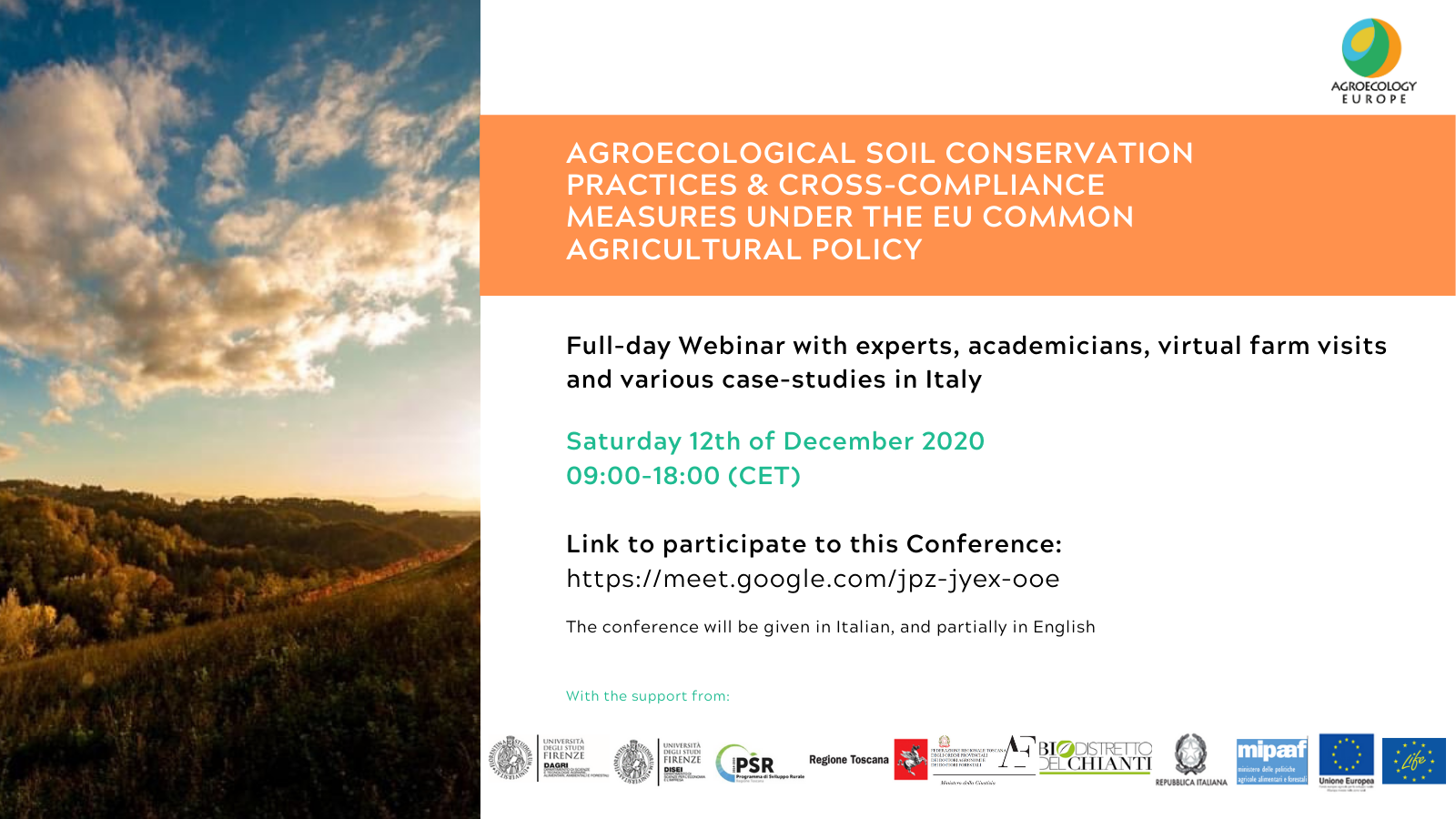 """AEEU Webinar on """"Agroecological soil conservation practices and cross-compliance measures under the EU Common Agricultural Policy"""" held on Saturday 12th of December 2020 in Italian (partially in English)"""