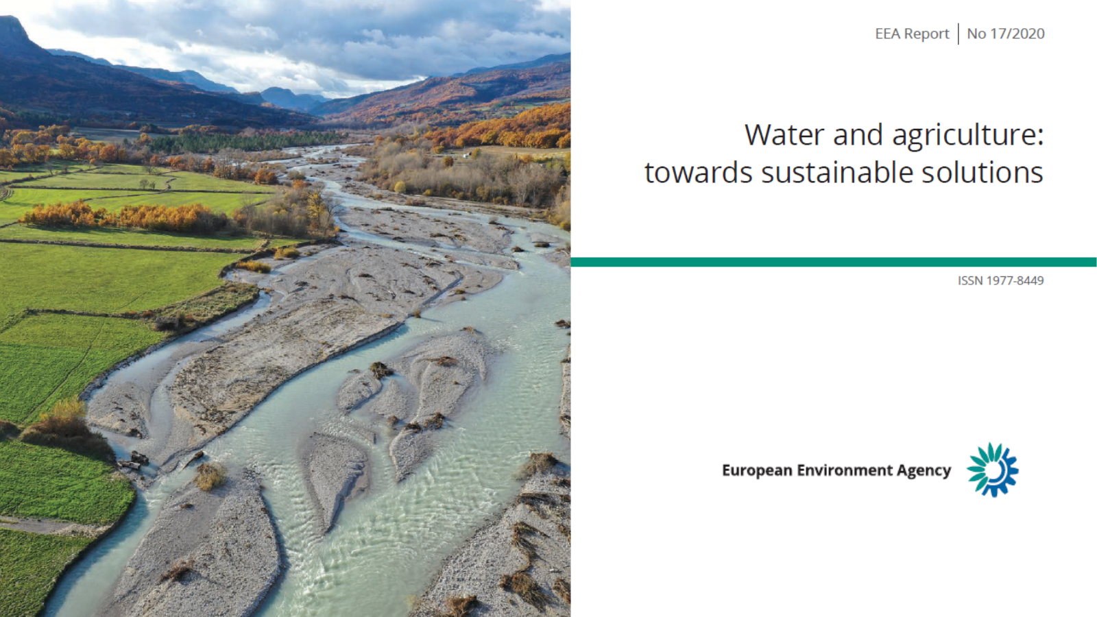 """New report of the European Environment Agency (EEA) published on """"Water and agriculture: towards sustainable solutions"""""""
