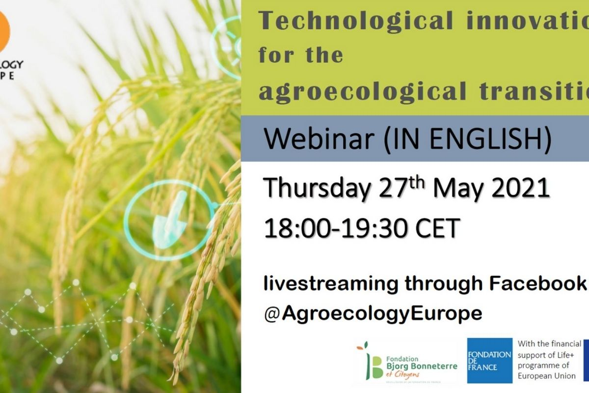 """AEEU Webinar on """"Technological innovations for the agroecological transition"""" was held on Thursday 27th of May 2021 in English on AEEU Facebook page"""